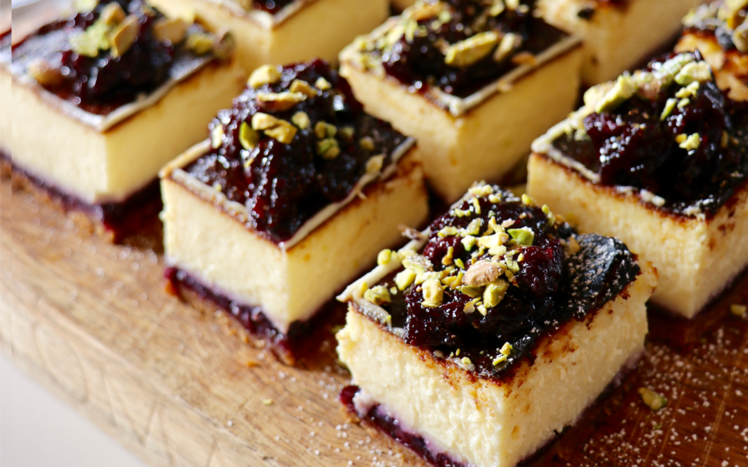 White Chocolate and Blueberry Baked Cheesecake